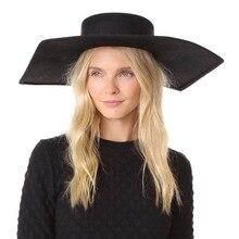 Nowa sześciokątna wełna płaski top big brim cylinder etap wybiegu wklęsły kształt pasek płaski top filcowy kapelusz damskie kapelusze modne