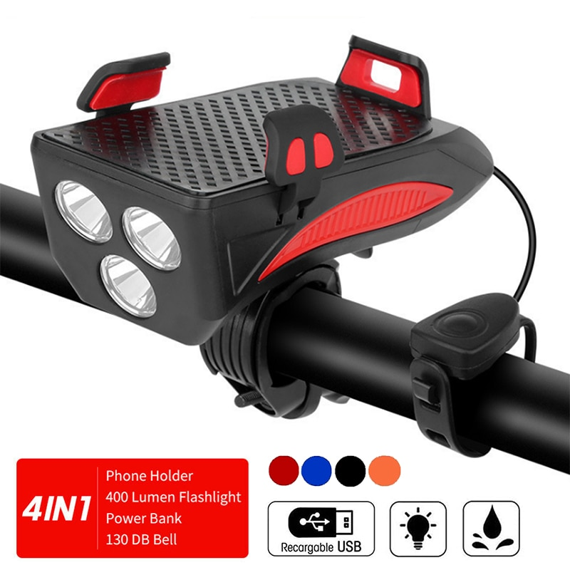 4in 1 إضاءة دراجة هوائية USB شحن الإضاءة الدراجات حامل هاتف محمول و LED المصباح القرن جرس بنك الطاقة ل دراجة اكسسوارات