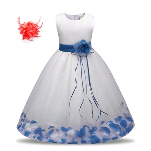 Kids Girls Birthday Wear 2019 Short White Dress Evening Party Frocks with Flowers Children's Summer Wedding Outfits