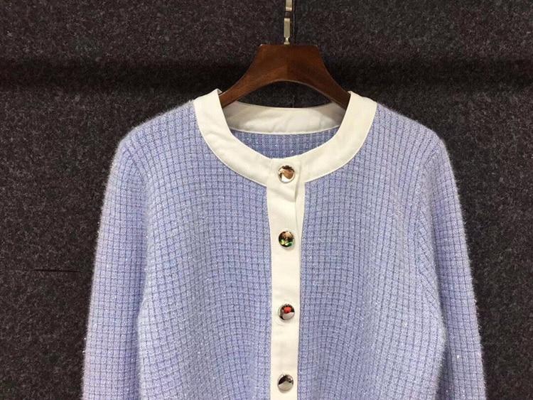 2021 Autumn Fashion Sweater Cardigans High Quality Women Lurex Yarn Knitting Studs Button Long Sleeve Casual Cardigan Outwear enlarge