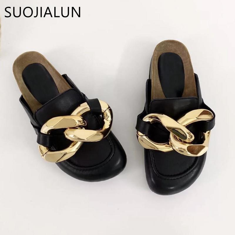 Suojialun design da marca feminina chinelo moda grande corrente de ouro sandálias sapatos dedo do pé redondo deslizamento em mulas de salto plano casual slides flip f