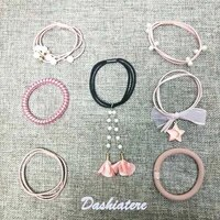 7pcslot woman hair rubber bands for girls 2020 new accessories pink ponytail hairband elastics tassel rope head scrunchies