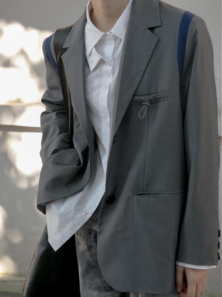 Suit Coat Stitching Contrast Lapel Collar Suit Coat Women's Korean Loose Thin Design Temperament Top