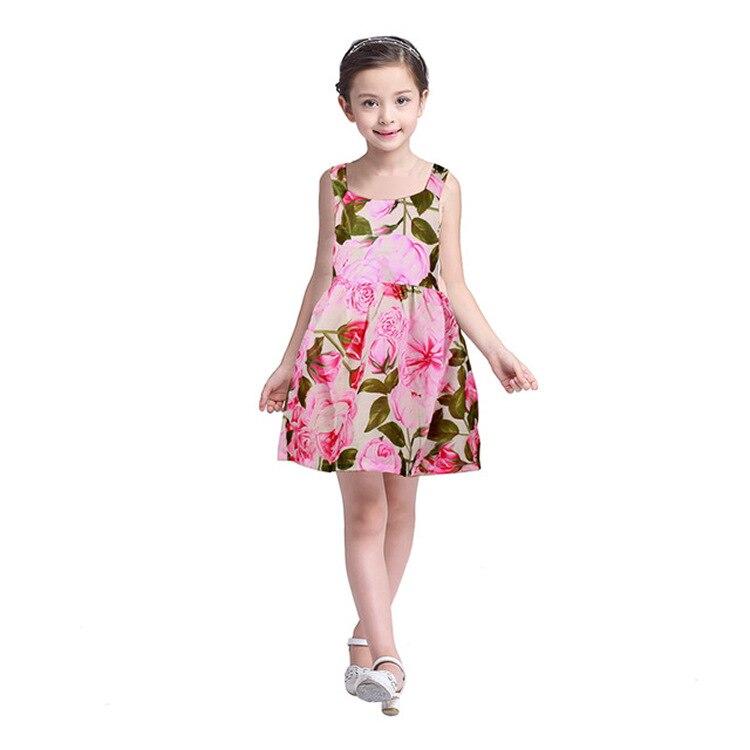 2021The New European And American Sling Dress Girls Baby Big Flower Dress Vest Skirt Cute Female Skirt2 3 4 5 6 7 Y