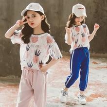 Ensemble de vêtements ananas pour filles   T-shirt +, ensemble de 2 pièces, vêtements dété à la mode, pour enfants de 6-10-12-13-14 ans