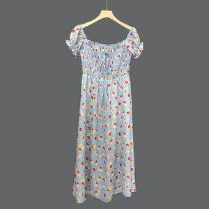 Brand Fashion Women Summer Bohemian Vintage Elegant Floral High Waist Puff Sleeve Split Square Collar Midi Dress