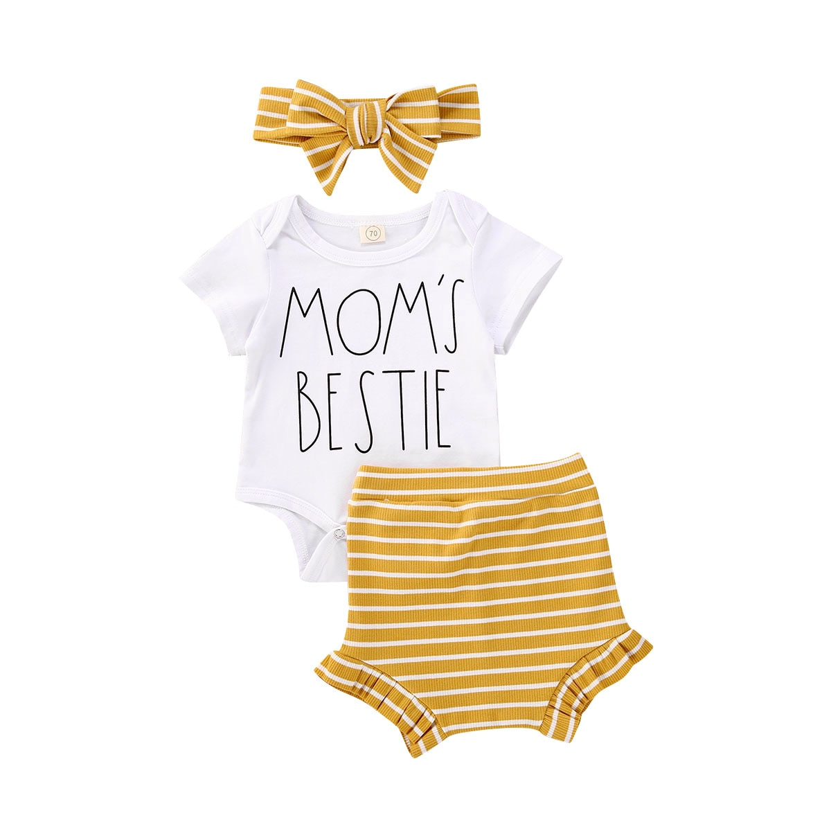 Комплект одежды для новорожденных мальчиков и девочек, летний комбинезон с буквенным принтом и коротким рукавом, полосатые шорты, повязка н...
