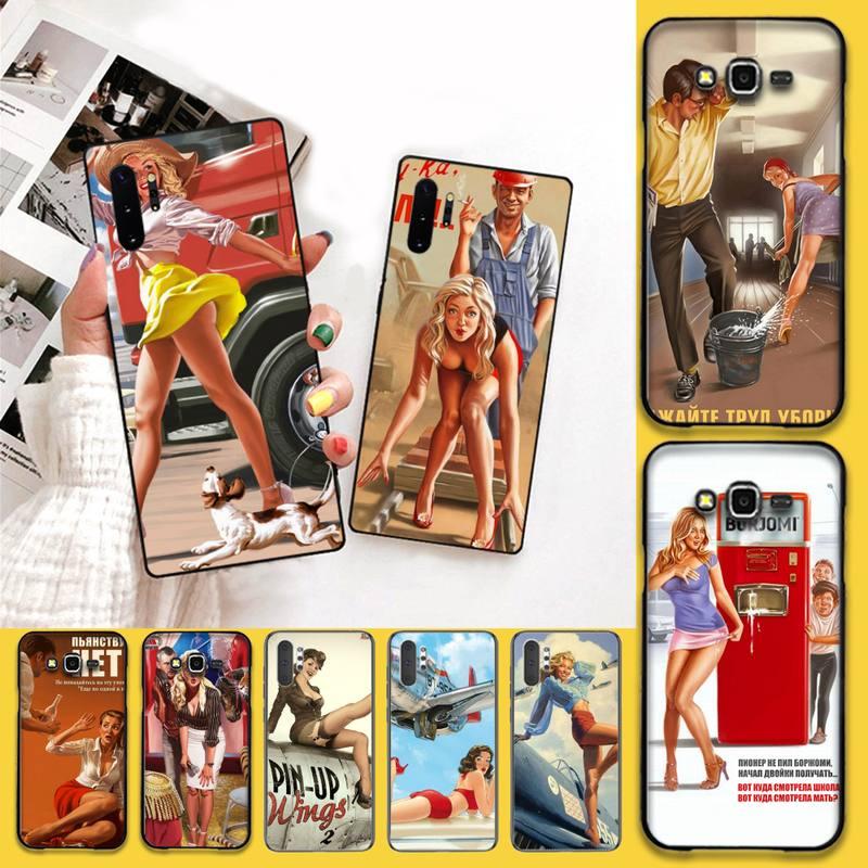 NBDRUICAI WW2 Sexy Pin up Girl Vintege, funda de teléfono para Samsung Galaxy J7 J8 J6 Plus 2018 Prime Note 7 8 9 10 pro