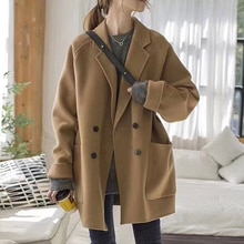 Trench Coat For Women 2021 Autumn And Winter New Korean Style High-end Cashmere Coat Women's Mid-len