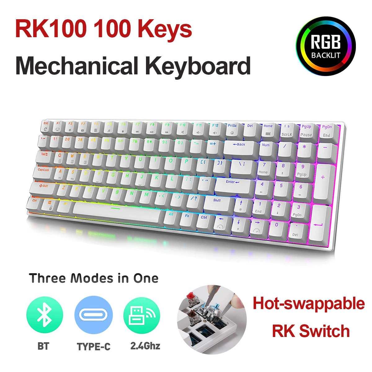 RK84 RK100 84/100 مفاتيح RGB لوحة المفاتيح الميكانيكية الساخن مبادلة RK التبديل اللاسلكية BT5.0 + 2.4Ghz + Type-C السلكية لوحات مفاتيح الألعاب الميكانيكية