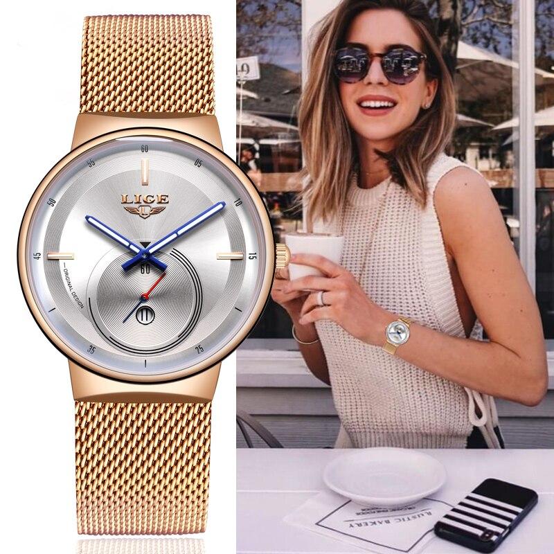 Reloj Mujer 2020 LIGE المرأة روز ساعات ذهبية Laides فستان الأعمال موضة عادية مقاوم للماء كوارتز ساعة التقويم ساعة اليد
