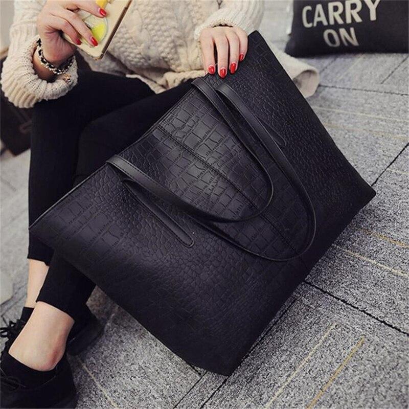 2021 Big New Women Shoulder Bags Alligator Ladies Leather Bags Casual Women Zipper Handbags Famous Brands Totes Black Red Colors