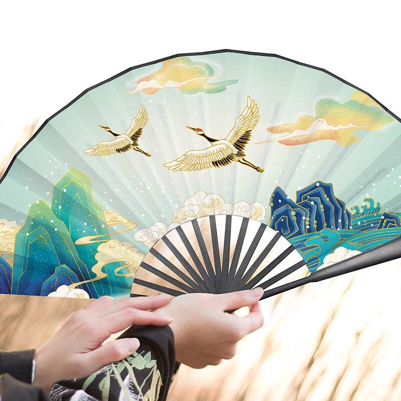 Estilo chino clásico plegable danza Vintage 33cm ventilador plegable de las mujeres...