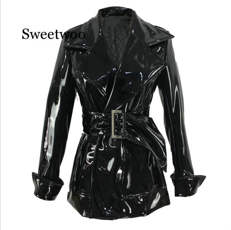 2020 Spring Autumn New Medium Long Belt Patent Leather Coats Female PU Leather Jacket Motorcycle Jackets Black