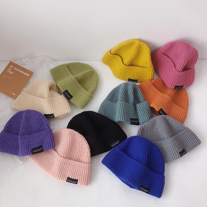 Осенне-зимняя детская вязаная шапка утепленная мягкая детская шапка для мальчиков и девочек повседневная детская шапка 11 цветов