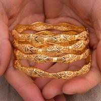 4pcs bride women bangle bracelets gold color can open cuff bangles for women men wedding jewelry hand accessories
