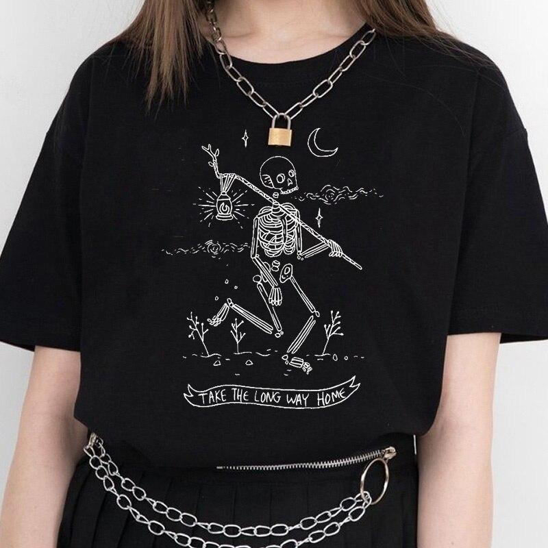HAHAYULE-JBH camiseta esqueleto de mujer tomar el camino largo inicio letra impresión Top Tumblr Grunge estética Tee Hipster arte azada camisa