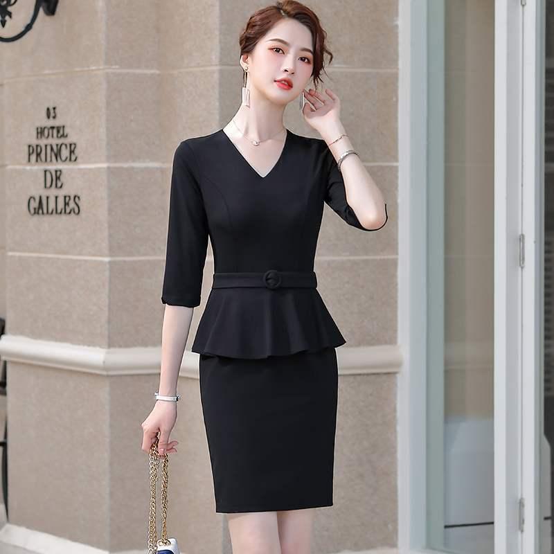 فساتين نصف كم OL أنماط للنساء الأعمال ملابس العمل سليم الوركين فستان بفتحة عنق على شكل v مكتب السيدات Vestidos مع حزام