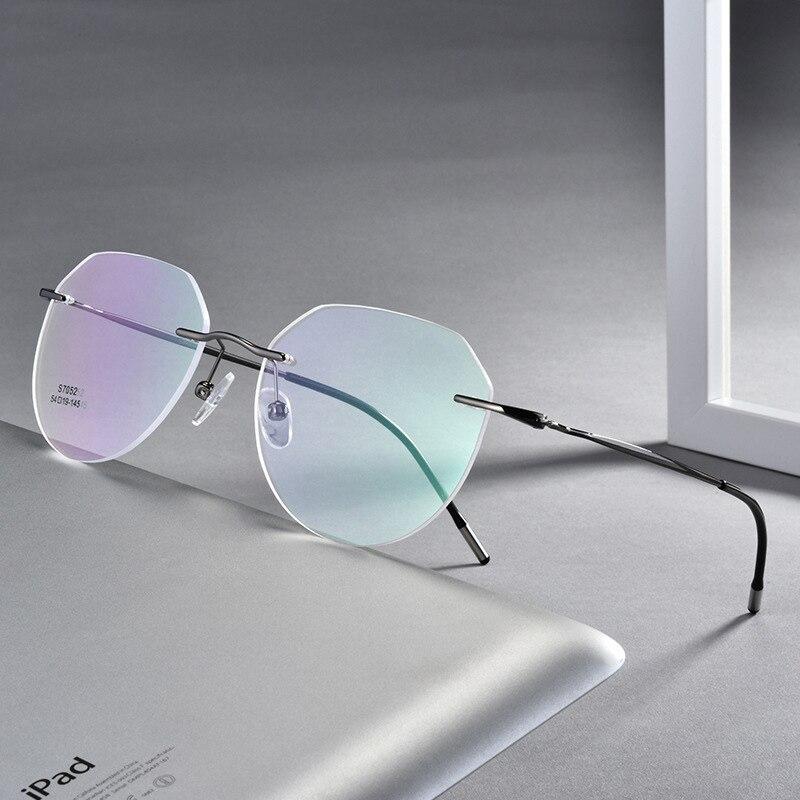 Montura de gafas ópticas redondas Retro, montura de gafas de miopía ultraligera, montura de gafas ópticas sin montura, montura de gafas para hombres