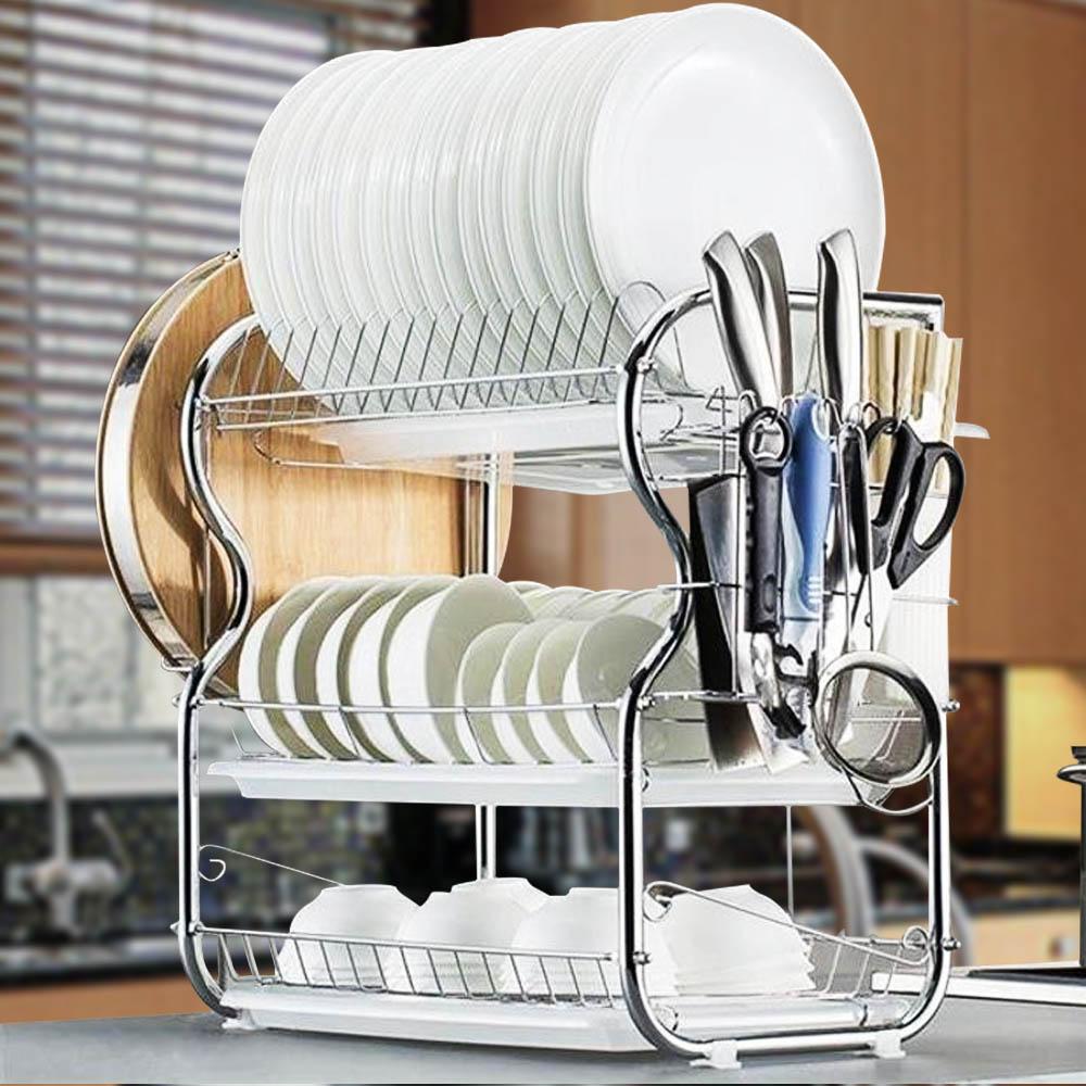 رف استنزاف أطباق المطبخ من 3 طبقات من الفولاذ المقاوم للصدأ رف غسيل الأطباق رف تجفيف للتنظيم لتوفير المساحة المنزلية أدوات تخزين