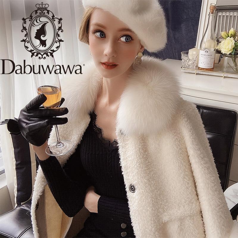 معطف نسائي شتوي طويل من صوف الأغنام, Dabuwawa معطف نسائي شتوي طويل من صوف الأغنام مع طية صدر السترة معطف نسائي شتوي فردي الصدر DT1DFR022