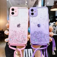 glitter protection phone case for huawei p40 p30 pro lite e nova 7 7i 6 4e se y5p y6p y7p honor 9s 9c lanyard soft back cover