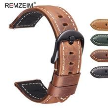 REMZEIM Crazy Horse Genuine Leather Strap For Samsung Galaxy Watch 46mm Gear S3 Frontier Classic Quick Release Watchband