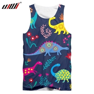 UJWI Vest Homme Hot Gyms 3D Sleeveless Shirt Print Dinosaur Cute couple Summer Casual Oversized Attire Male Spring Tank Tops