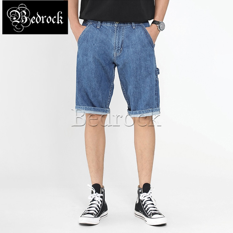 MBBCAR 11oz light blue denim shorts retro selvedge raw denim washed shorts casual knee length overalls shorts men 579