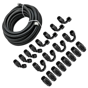 Oil Cooler Hose Pipe AN8 Racing Hose Stainless Steel Braided PTFE Brake Hose Fuel Oil Line 45 90 180 degree fitting End Adaptor