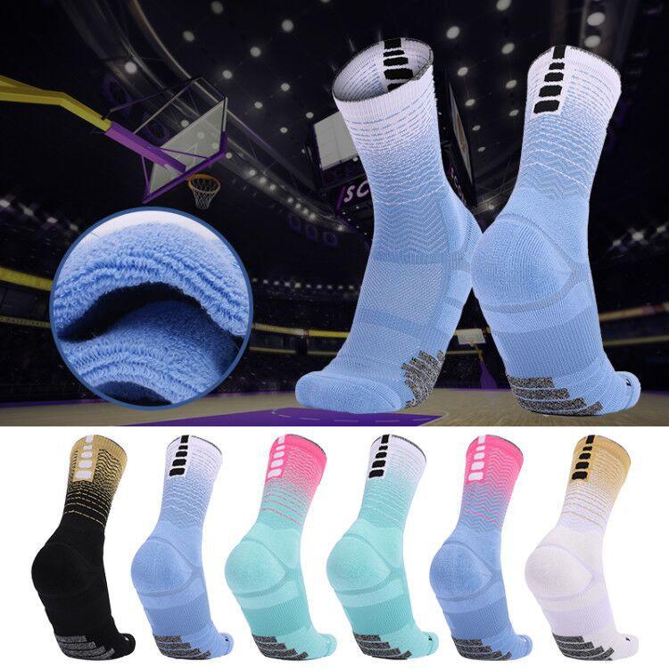 Мужские и женские Элитные баскетбольные носки, утепленные высокие спортивные носки, Нескользящие тренировочные модные носки