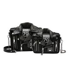 TekiEssica veste en cuir en forme de Serpentine Rivets Style Punk Mini rabat sacs à main dames cartables femmes sac à bandoulière messager