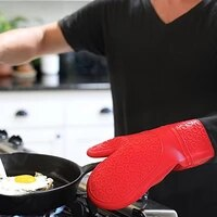 silicone heat resistant gloves cooking barbecue gants kitchen microwave mittens oven glove home cleaning tools high quality