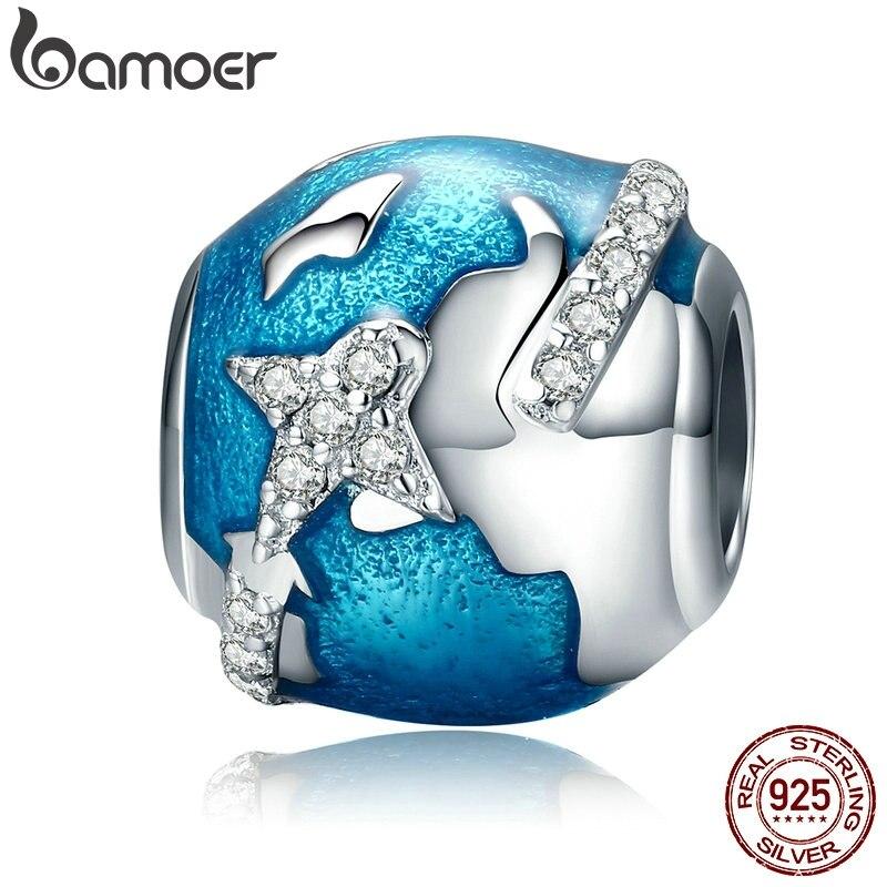 BAMOER Genuine 100% Plata de Ley 925 mundo de viaje y deslumbrante CZ azul esmalte cuentas se ajusta a pulseras de regalo S925 SCC183