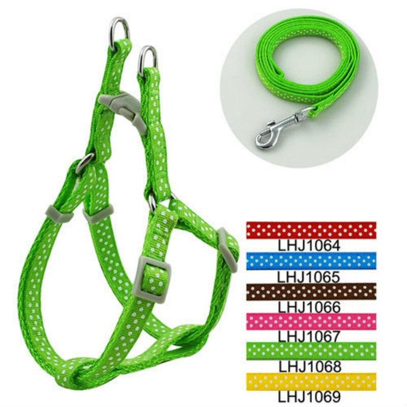 Pet Products Supplies Harnesses Color Nylon 1cm Classic Dots Print Pet Dog Harness And Leash Set (6 Colors) 6 Pcs/lot