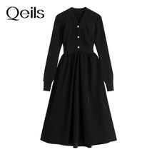 Qeils Temperament Long Sleeve Dress Female Elegant Vintage Autumn Winter Black Slim Ladies Formal Pa