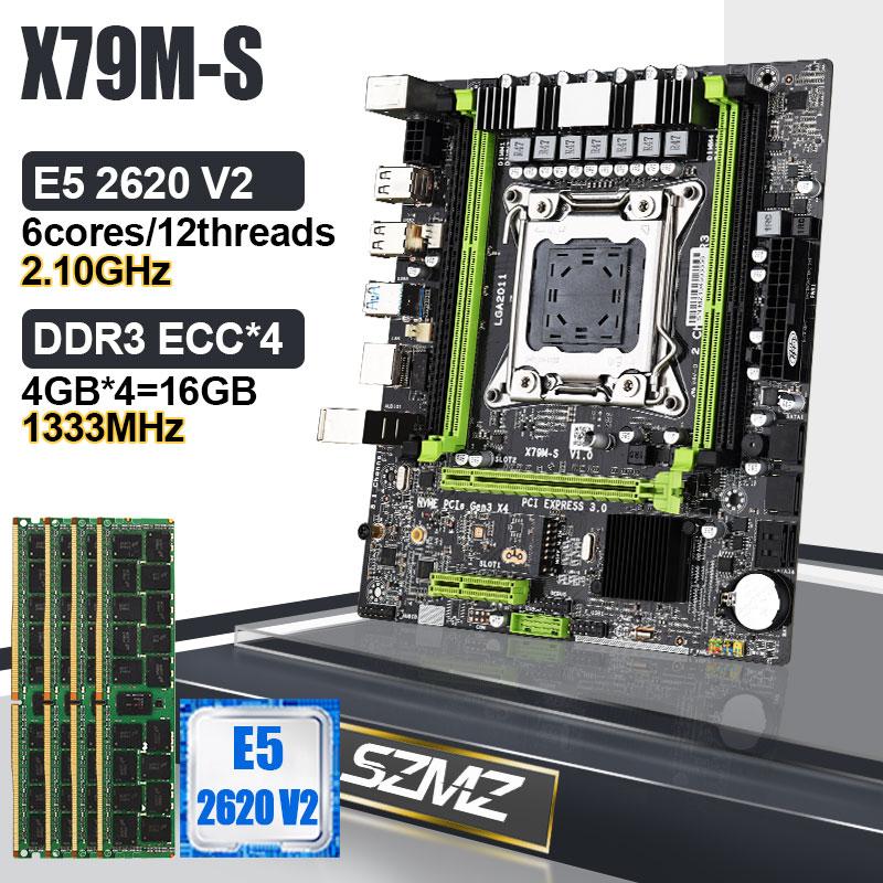 X79 طقم اللوحة الأم LGA 2011 مع Xeon E5 2620 V2 CPU 16GB DDR3 ECC RAM الألعاب الكمبيوتر بلاسا mae X79 مجموعة دعم E5 2650 2689 ombo