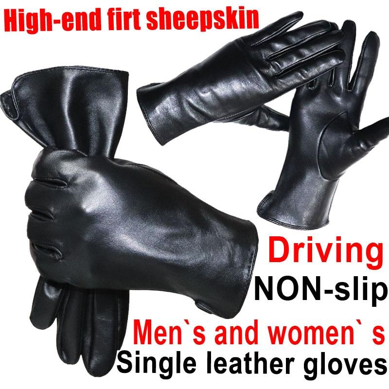 Кожаные перчатки из овечьей кожи мужские тонкие кожаные перчатки для вождения женские осенние и зимние теплые велосипедные перчатки для во...