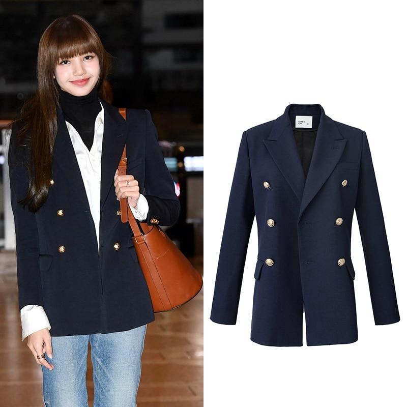 kpop BLACKPINK LISA korean women Long Sleeve Double Breasted Blazer Casual Jacket Ladies Office Suit Outwear Coat female clothes
