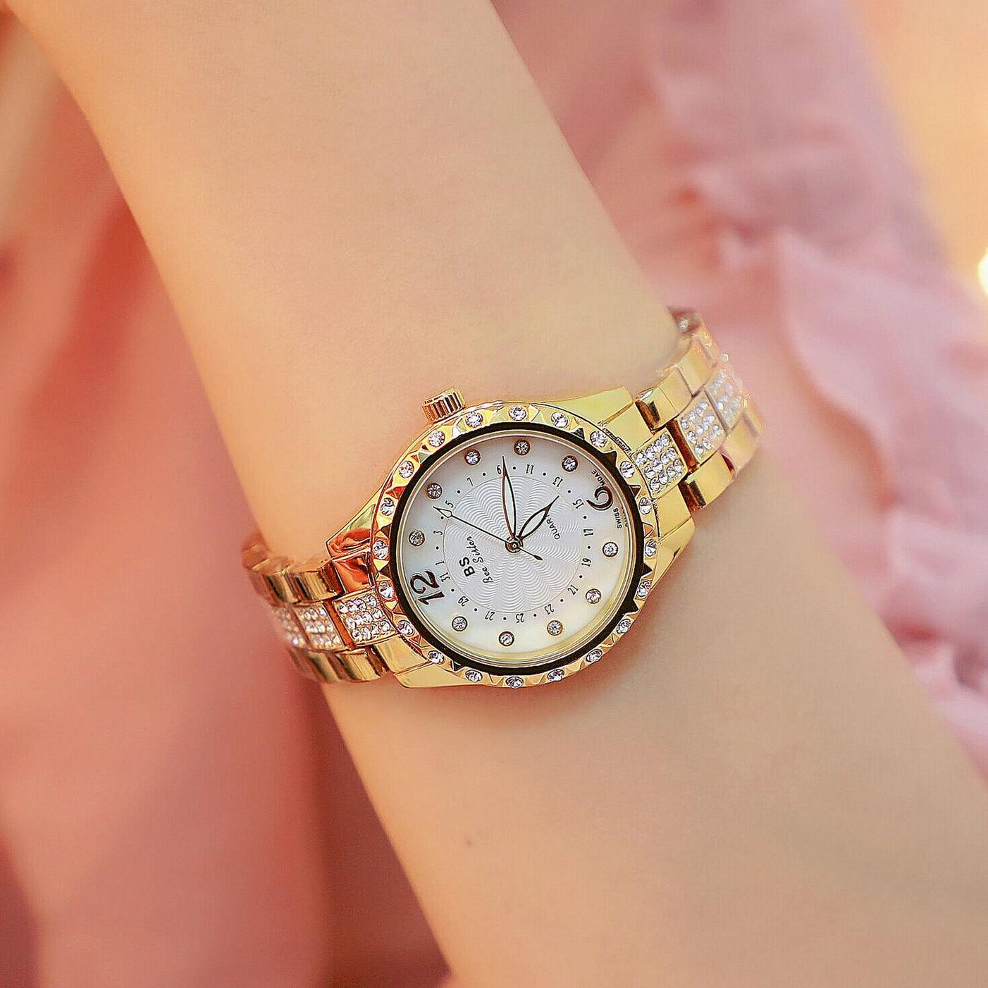 Luxury Golden Women Quartz Wristwatch Fashion Diamond Ladies Watch Casual Dress Small Woman Watch Fe