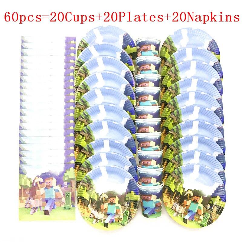 Jeu de fille en papier   40 pièces/60 pièces, jeu à thème Mining Pixel pour fête danniversaire de fille, tasse + assiette + serviette, fourniture de vaisselle en papier pour fête de mariage