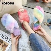 hot winter women home slippers faux fur cross plush open toe slides female house slippers ladies warm fluffy furry indoor shoes