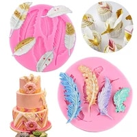 feather silicone molds diy cupcake topper fondant cake decorating tools polymer clay candy chocolate gumpaste moulds