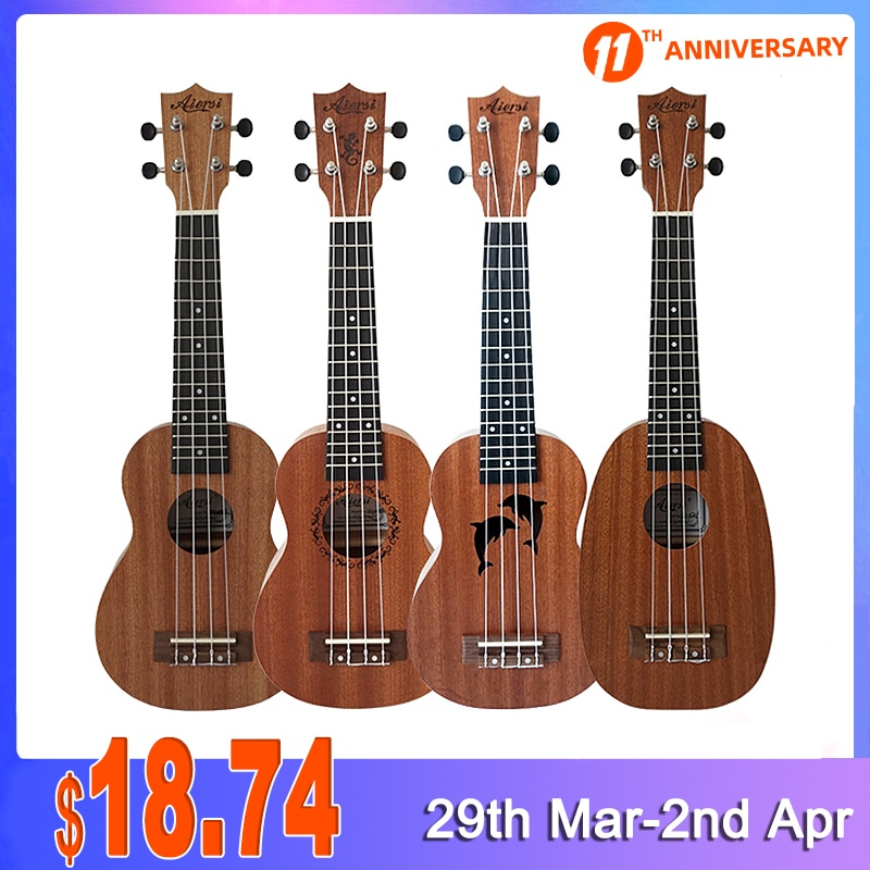 Full Pack Aiersi 21 Inch Soprano Spruce Mahogany ukulele With Gecko Dolphin Pineapple Design Ukelele Guitar With Bag Tuner Capo
