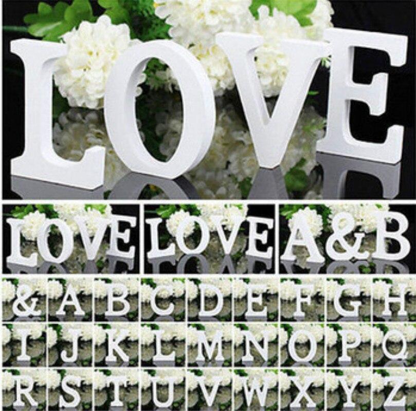 1 Uds. Letra de alfabeto de madera palabra madera letras en inglés blanco para niños niño niñas Baby Shower suministros para decoración de boda Feliz cumpleaños