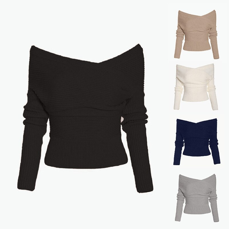 Winter Warm Fashion Womens Long Sleeve Off Shoulder Sweaters Knitted Top Pullover Sweater Jumper Slim Slash Neck Knit Sweaters drop shoulder open knit jumper