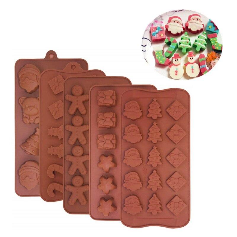 5 uds molde de chocolate Navidad Fondant silicona molde pastel herramientas de decoración Navidad temática caramelo galleta hielo bandeja moldes Navidad