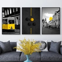 nordic yellow car bus black white posters and prints landscape wall art london pairs wall pictures for living room decoration