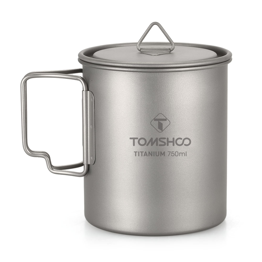 TOMSHOO-taza de agua ultraligera de titanio, taza de agua al aire libre para acampar, con mango plegable, 750ml