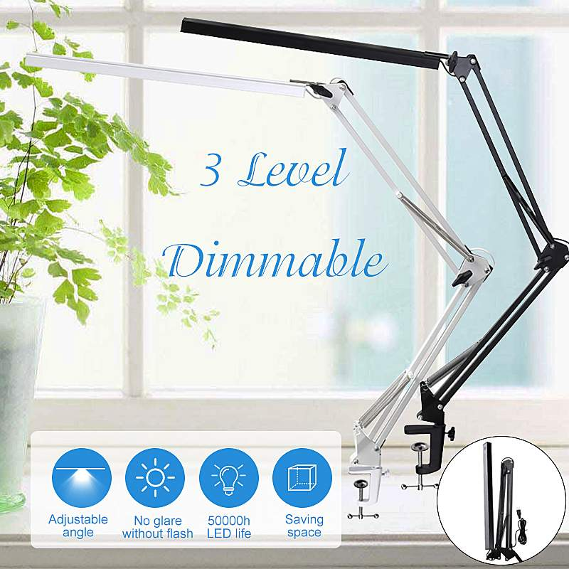Foldable Adjustable LED Desk Lamp Foldable Dimmable Touch Table Lamp DC5V USB Powered Swing Arm Table Light 6000K Night Light
